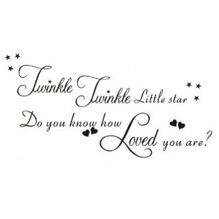 Twinkle Twinkle Little Star Do You Know How Loved You Are Wall Decal Sticker Vinyl Lettering Saying Baby Nursery Kids Boys Girls Bedroom Livingroom Decor Mural Art   Baby Quote Wall Decals