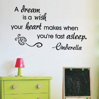 "WallStickerUSA Medium ""A dream is a wish your heart makes when you're fast asleep. ~Cinderella"" Quote Saying Wall Sticker Decal Transfer Film 17x25  Nursery Wall Decor  Baby"