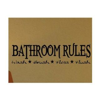 "WallStickerUSA Medium ""BATHROOM RULES Wash Brush Floss Flush "" Quote Saying Wall Sticker Decal Transfer Film 17x25  Nursery Wall Decor  Baby"