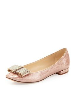 niesha flat with sparkle bow, rose gold   kate spade new york   Rose gold (40.