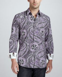 Mens Joule Paisley Sport Shirt, Purple   Robert Graham   Purple (L/42)
