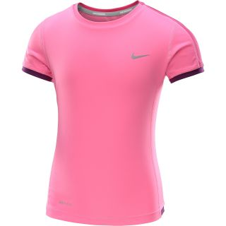 NIKE Girls Miler Short Sleeve Running T Shirt   Size Medium, Pink/silver
