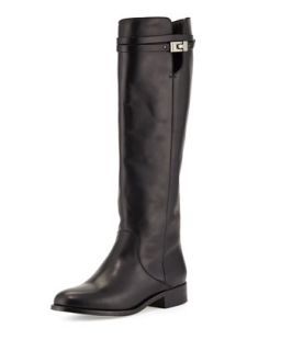 Hyson Belted Leather Knee Boot, Black   Jimmy Choo   Black (42.0B/12.0B)