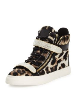 Mens Leopard Print Calf Hair High Top Sneaker   Giuseppe Zanotti   Multi