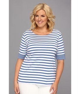 Pendleton Plus Size Roll Sleeve Stripe Rib Tee Womens Short Sleeve Pullover (Blue)