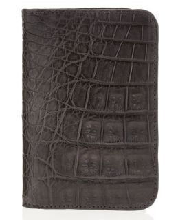 Mens Crocodile Foldover Card Case, Gray   Santiago Gonzalez   Grey