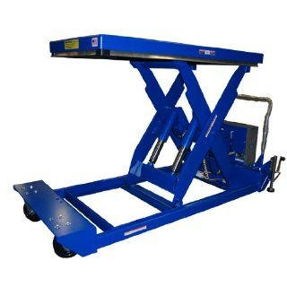 "Beacon Portable Scissor Lift Table; Platform Width 24"" to 48""; Platform Length 48"" to 72""; Capacity (LBS) 4, 000; Raised Height 47""; Lowered Height 12""; Travel Time (Sec.) 28; Standard Control Hand Control with Battery;"