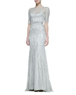 Womens 3/4 Sleeve Lace Gown with Beaded Waist, Celadon   Theia by Don O