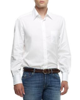 Mens Button Down Shirt, White   Brunello Cucinelli   White (S)