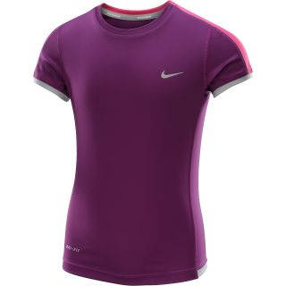 NIKE Girls Miler Short Sleeve Running T Shirt   Size Xl, Grape/silver