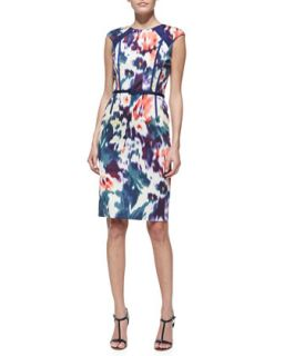 Womens Printed & Belted Cap Sleeve Sheath Dress   David Meister   Multi (12)