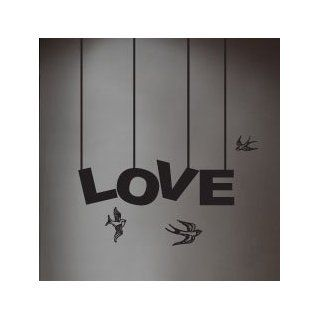 "WallStickerUSA Medium ""LOVE"" 3 Birds Quote Saying Wall Sticker Decal Transfer Film 17x25  Nursery Wall Decor  Baby"