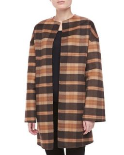 Womens Open Front Plaid Coat   Michael Kors   Chocolate multi (LARGE)