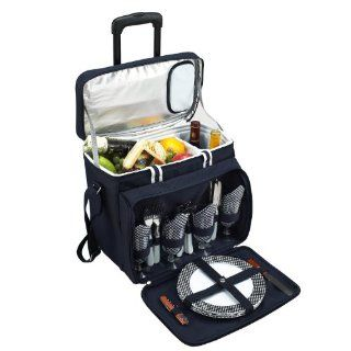 Picnic at Ascot Bold Picnic Cooler For 4 with Removable Wheeled Cart, Navy  Picnic Baskets  Patio, Lawn & Garden