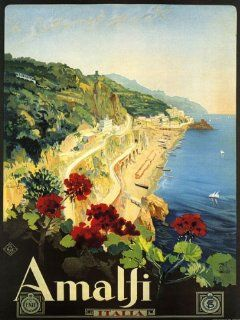 "Amalfi Is a Town and Comune in the Province of Salerno Close to Naples Italy Travel Italiana Italian 12"" X 16"" Image Size Vintage Poster Reproduction. Several more sizes available   Prints"