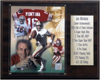 NFL 12 x 15 in. Joe Montana San Francisco 49ers Career Stat Plaque   Wall Art & Photography