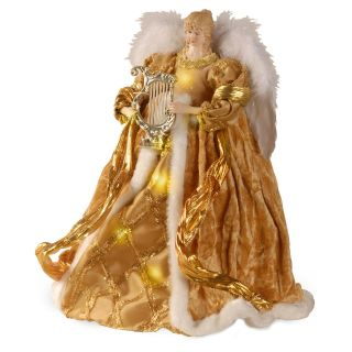 16 in. Gold Pre Lit LED Christmas Angel Tree Topper   Tree Toppers