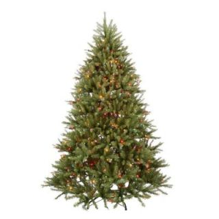 National Tree Company 7.5 ft. Pre Lit Dunhill Fir Hinged Artificial Christmas Tree with Multi Color Lights DUH 75RLO