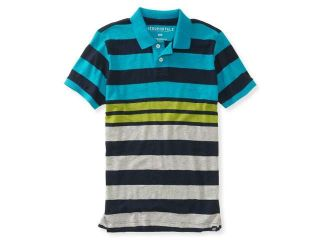 Aeropostale Mens Color Block Striped Rugby Polo Shirt 608 XS