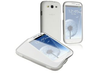 Insten Clear White TPU Rubber Skin Case Cover with Flap + Front & Back Reusable LCD Cover Compatible with Samsung Galaxy SIII / S3