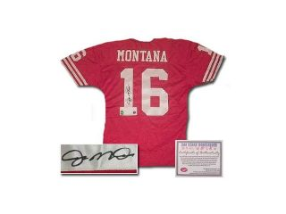 Joe Montana San Francisco 49ers NFL Hand Signed Authentic Style Red Football Jersey