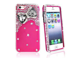 Insten Diamonds with 3D Hot Pink Bow Tie Snap on Case Cover + Colorful Diamond Screen Protector compatible with Apple iPhone 5