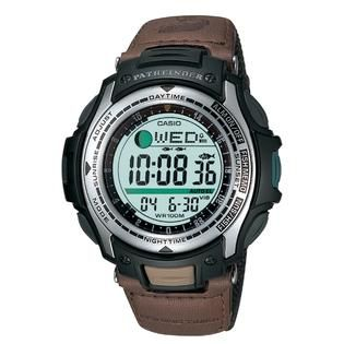 Casio Mens Calendar Day/Date Fishing Timer Watch w/Round Green Dial