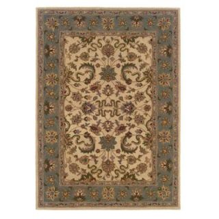 Linon Home Decor Trio Cream and Light Blue 8 ft. x 10 ft. Area Rug RUG TT0881