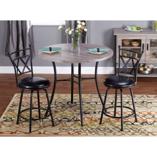 Jaxx Collection 3 Piece Adjustable Height Dining Set, Black