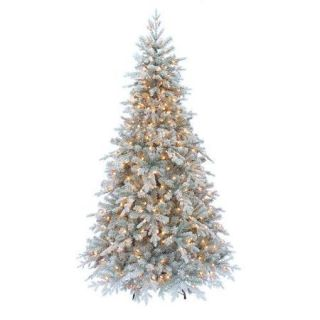 Kurt Adler Pre Lit 7' White Frosted Pine Christmas Tree with 400 Clear Lights