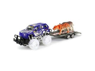 Safari Jeep Adventure Friction Powered Toy Truck w/ Trailer, Toy Tiger and Rhino
