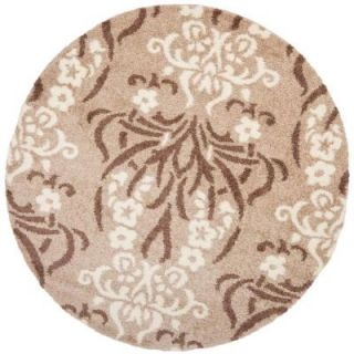 Safavieh Florida Shag Beige/Cream 6 ft. 7 in. x 6 ft. 7 in. Round Area Rug SG457 1311 7R