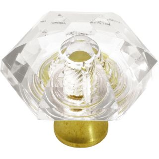 Hickory Hardware Crystal Palace Crysacrylic with Polished Brass Round Cabinet Knob