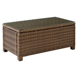 Crosley Bradenton Outdoor Wicker Conversational Glass Top Table