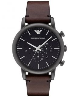 Emporio Armani Mens Chronograph Dark Brown Leather Strap Watch 46mm