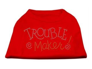 Mirage Pet Products 52 80 XSRD Trouble Maker Rhinestone Shirts Red XS   8