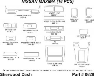 1998, 1999 Nissan Maxima Wood Dash Kits   Sherwood Innovations 0629 CF   Sherwood Innovations Dash Kits