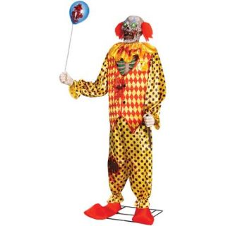 6' Zombie Clown Animated Halloween Prop