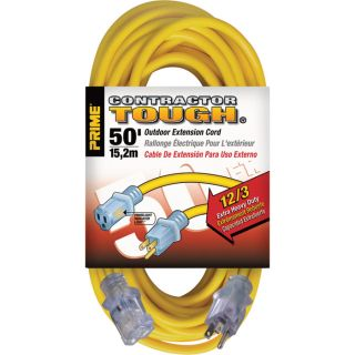 Prime Wire & Cable Contractor Tough Outdoor Extension Cord — 50-Ft., 12/3, 15 Amp, 125 Volt, 1,875 Watt, Yellow, Model# EC511830  Extension Cords