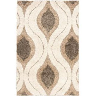 Safavieh Florida Shag Cream/Smoke 3 ft. 3 in. x 5 ft. 3 in. Area Rug SG461 1179 3