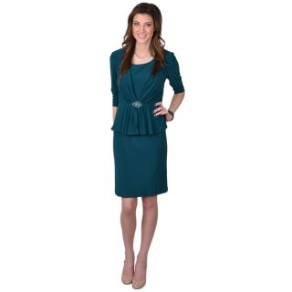 Jessica Howard Womens Three quarter Sleeve 2 piece Peplum Dress