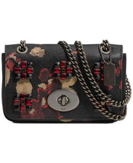 COACH MINI CHAIN CROSSBODY IN JEWELED FLORAL PRINT LEATHER   Handbags