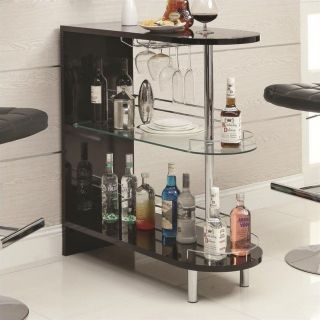Coaster Contemporary Home Bar Table with Glass Shelf in Black   101063