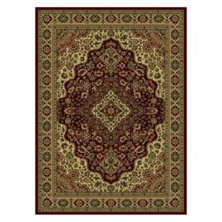 Radici Usa Castello Area Rugs   808 Traditional Oriental Burgundy Medallion Bordered Persian Rug