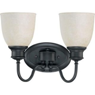 Glomar 2 Light Aged Bronze Vanity Light with Biscotti Glass HD 2798