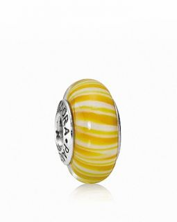 PANDORA Charm   Murano Glass & Sterling Silver Yellow Candy Stripes, Moments Collection