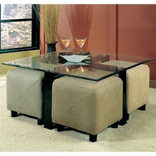 Coaster Cermak Contemporary Square Black Metal Base Glass Top Cocktail Table   700026