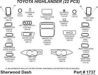 2003 2007 Toyota Highlander Wood Dash Kits   Sherwood Innovations 1737 N50   Sherwood Innovations Dash Kits