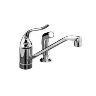 KOHLER Coralais Single Handle Standard Kitchen Faucet with Side Sprayer in Polished Chrome K 15176 P CP
