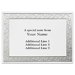 Custom Printed Stationery Note Cards Silver Flourish Frame Folded 4 78 x 3 12  White Matte Box Of 25